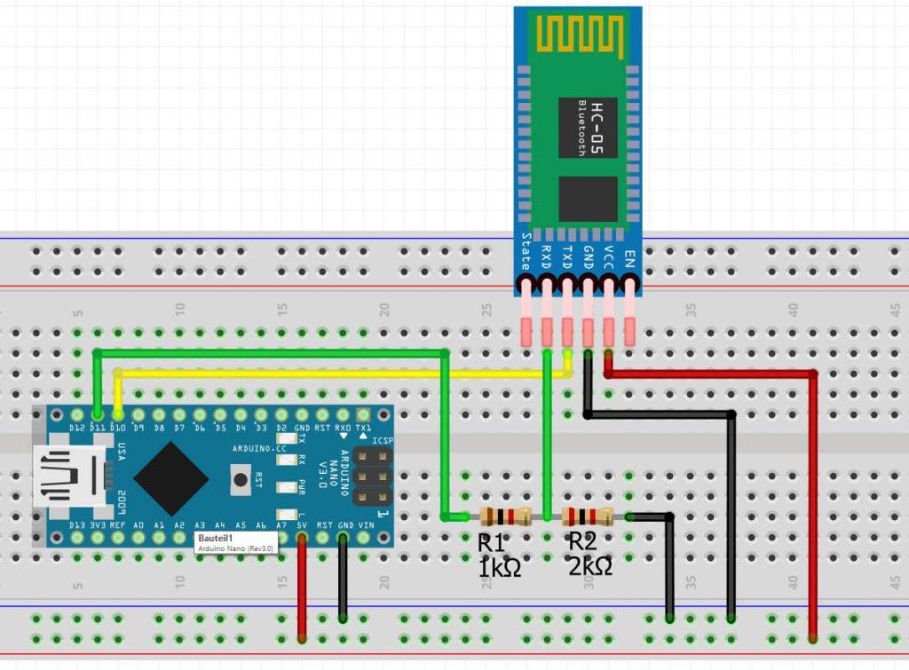 Schaltung auf dem Breadboard zur Programmierung der HC-05 und HC-06 Bluetooth Module