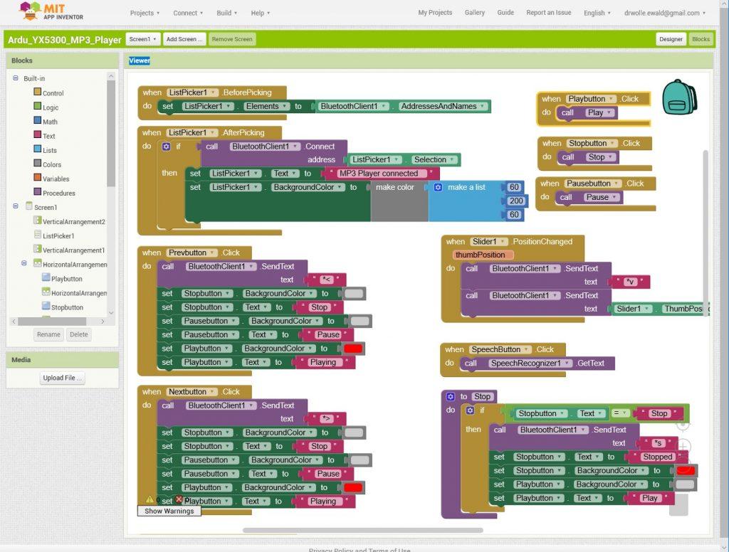 Der Blocks Bildschirm von MIT App Inventor