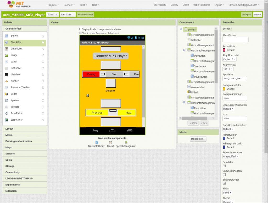 Designer Bildschirm von MIT App Inventor