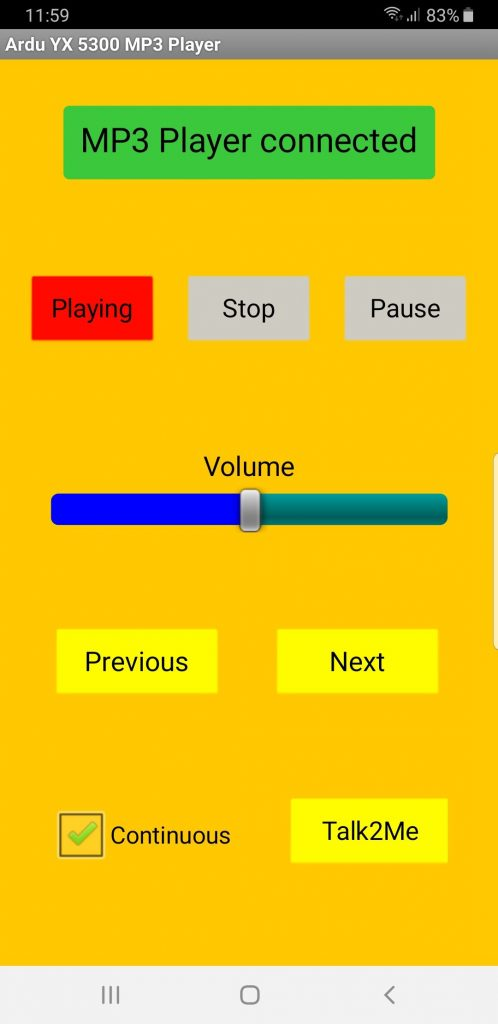 Oberfläche der MP3-Player YX5300 App.