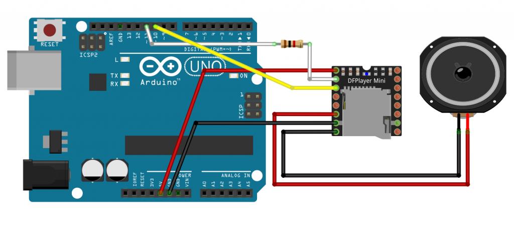 Fritzing: DFPlayer Mini Ansteuerung mit dem Arduino - Schaltung auf dem Breadboard