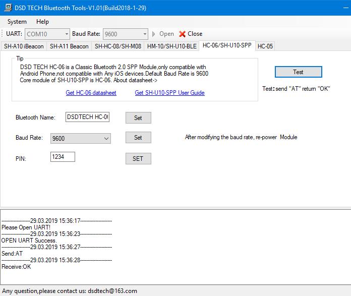 DSD TECH Tool Programmoberfläche  für die Programmierung der HC-05 und HC-06 Bluetooth Module