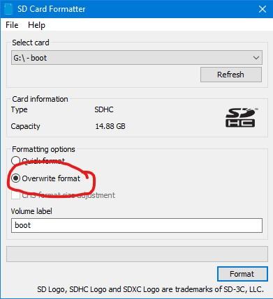 SD Card Formatter - Programmansicht