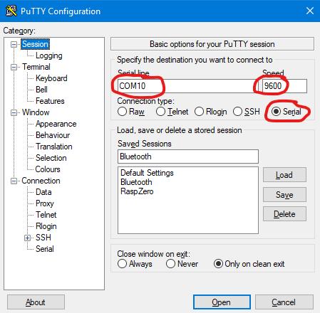 Putty Einstellungen (Session) für dieProgrammierung der HC-05 und HC-06 Bluetooth Module