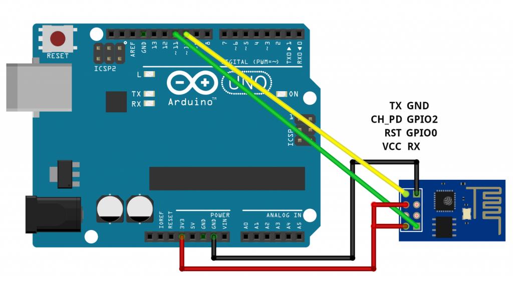 Schaltung zur Übermittlung von AT-Kommandos an das ESP8266 ESP-01 Modul