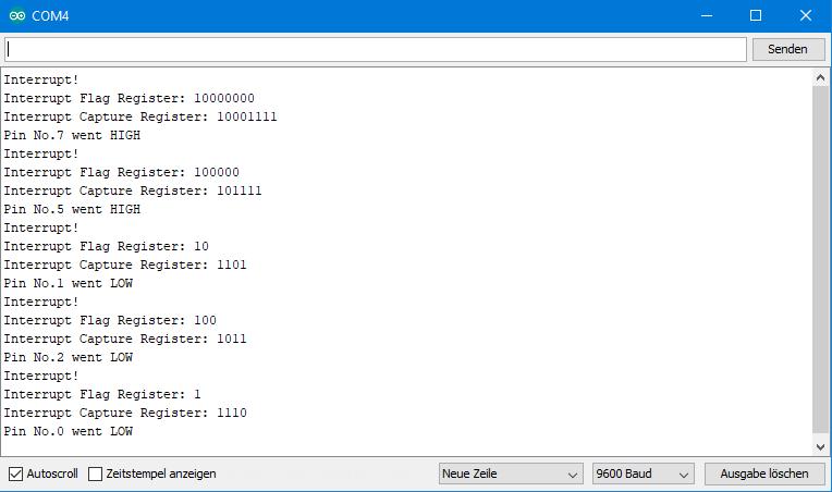 Ausgabe des Interrupt-on-DefVal-Dev Sketches