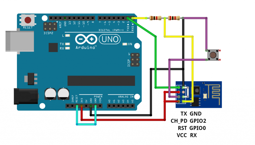 ESP8266 ESP-01 module - Circuit for programming via an Arduino