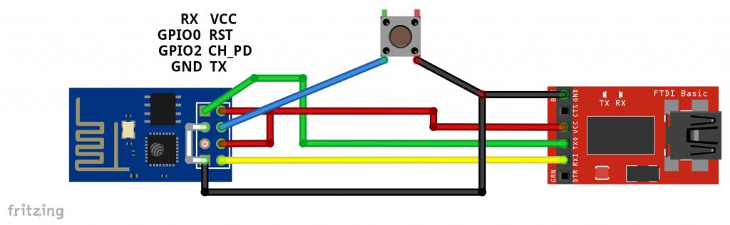 ESP8266 ESP-01 Modul - Schaltung für Programmierung über einen USB-zu-TTL Adapter