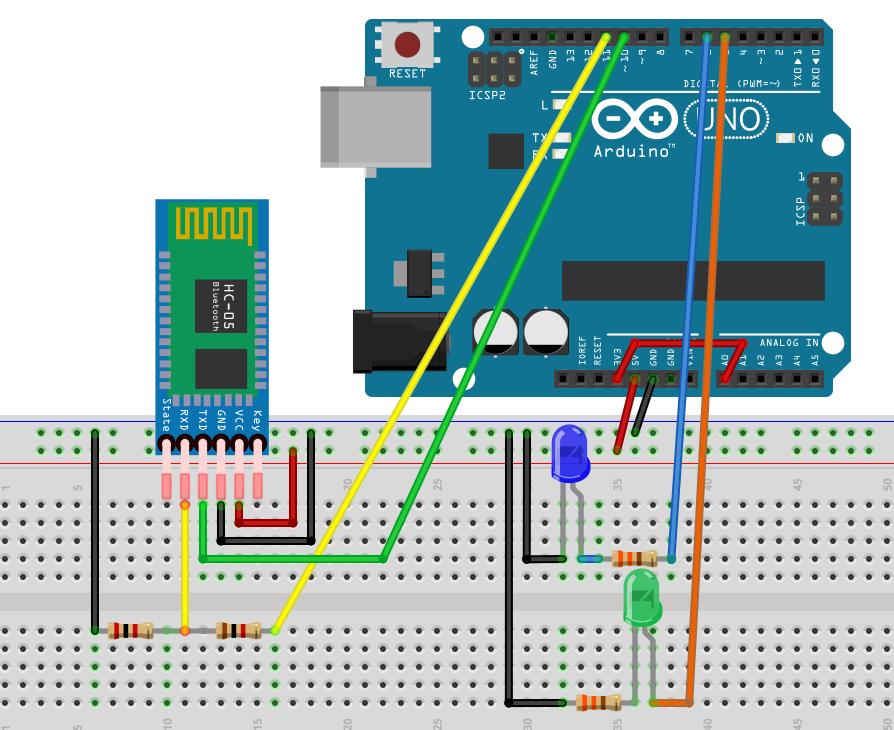 Schaltung des Arduino bei Verwendung von bt_receiver.ino