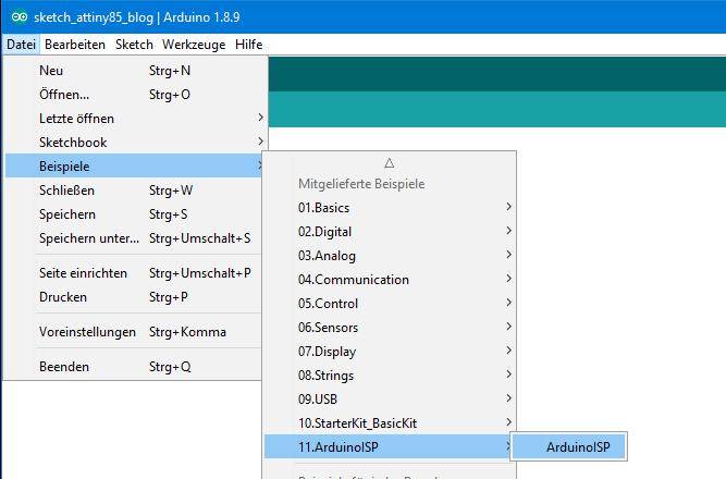 Auswahl des ArduinoISP Sketches