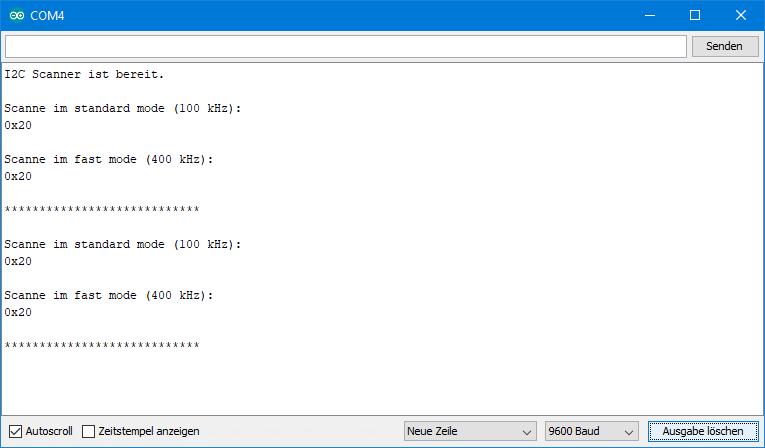 Ausgabe des I2C Scanners auf dem seriellen Monitor