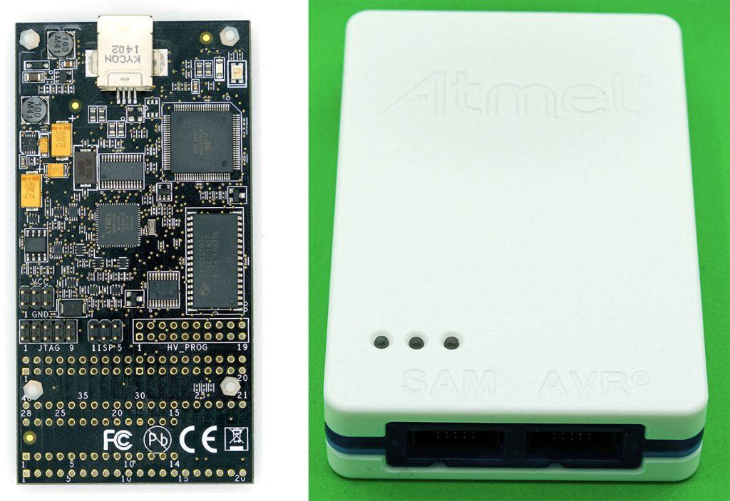 Programmer für Atmel Studio, links: Dragon, rechts: Atmel-ICE