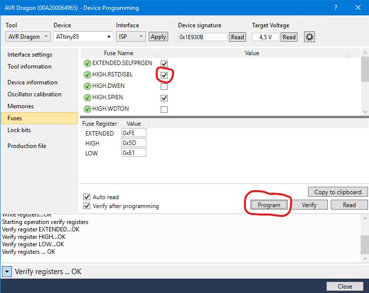 Device Programming Fenster - Auswahl der Fuse-Bits