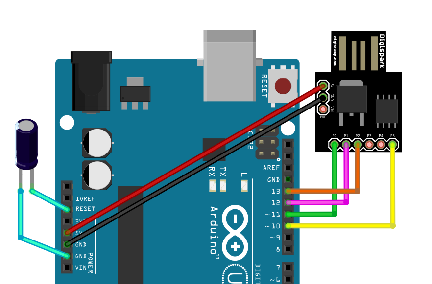 Schaltplan für die Programmierung des Digispark mittels Arduino