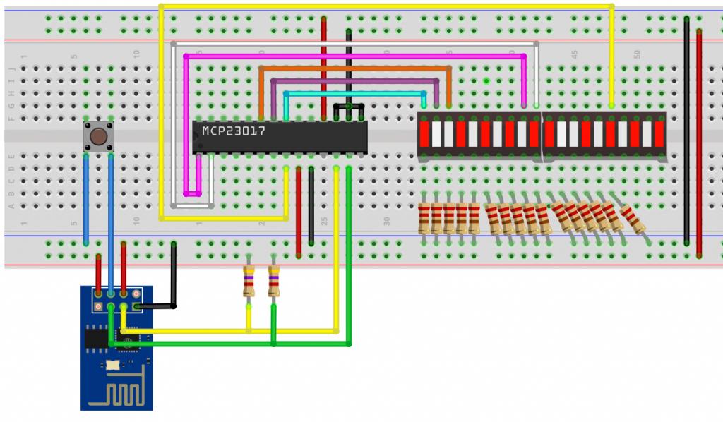 Schaltplan für die ESP-01 Portwerweiterung mit dem MCP23017
