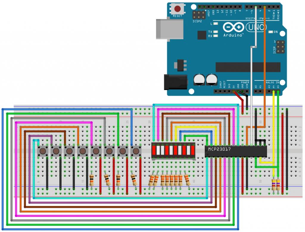 Schaltplan zum Testen der Interrupt-on-DefVal-Deviation Funktion am MCP23017