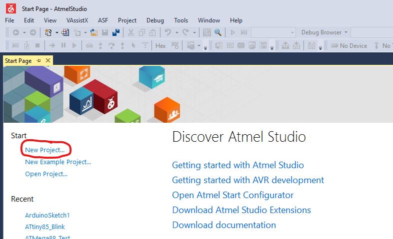 Debugging für den Arduino - Neues Projekt in Atmel Studio anlegen