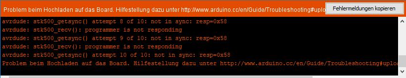 Debugging für den Arduino - leider muss man die Einstellungen auch wieder rückgängig machen, sonst bekommt man diese Fehlermeldungen