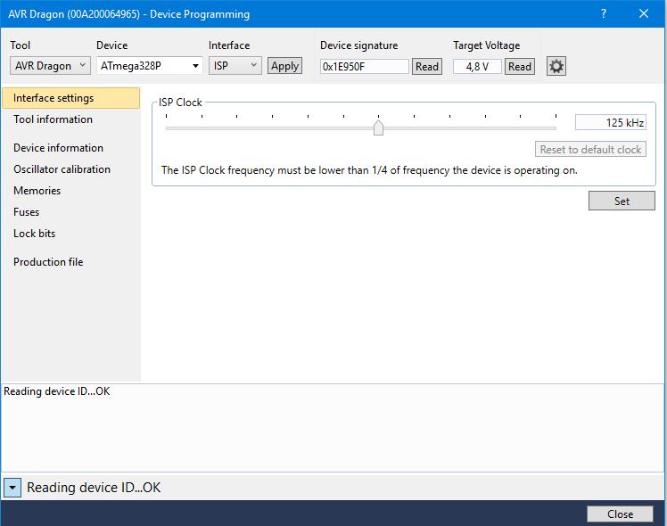 Wechsel in das Device Prorgramming Fenster