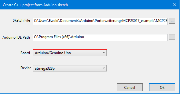 Debugging für den Arduino - Auswahl des zu importierenden Sketches