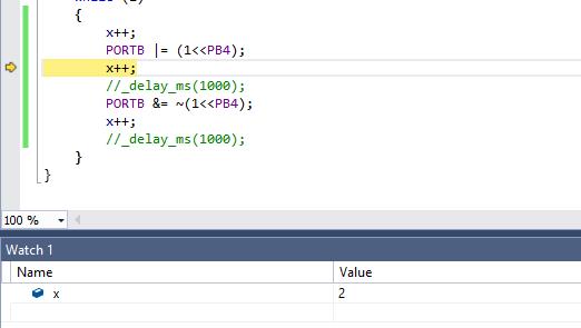 Variable x im Verlauf des Programms