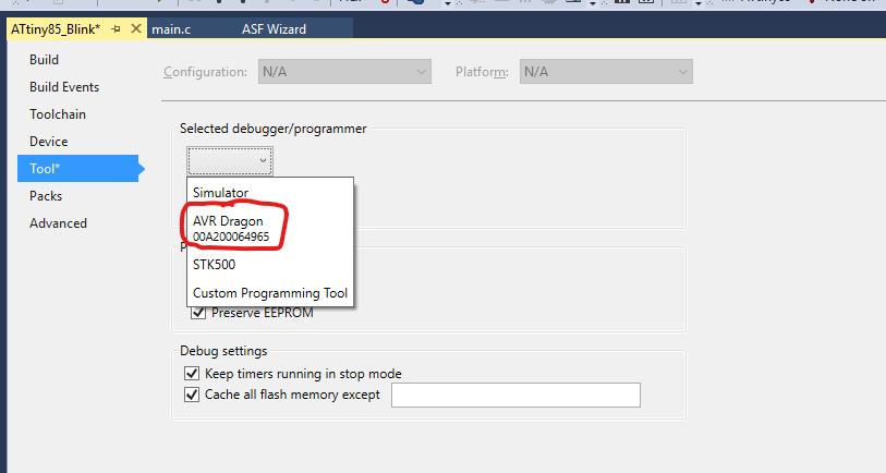 den AVR Dragon in Atmel Studio 7 auswählen
