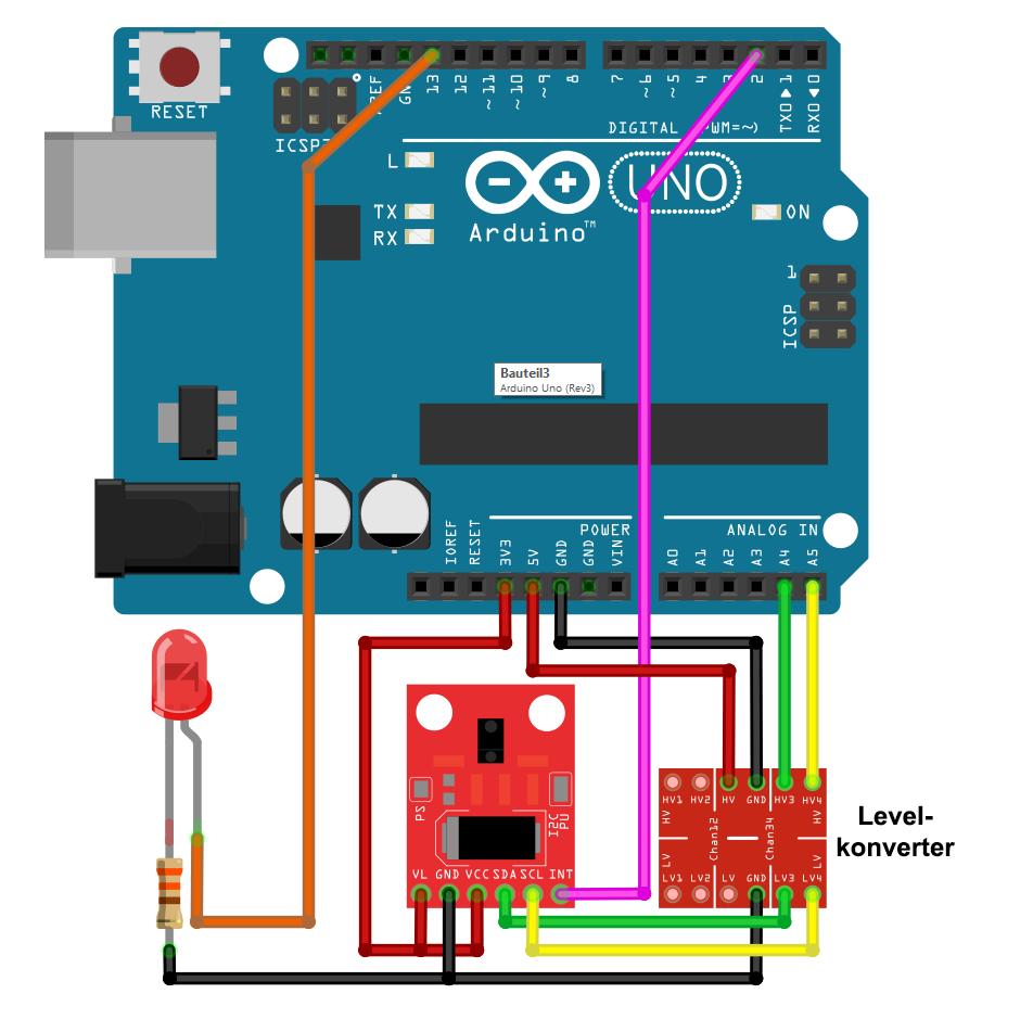 APDS 9960 Schaltung am Arduino UNO