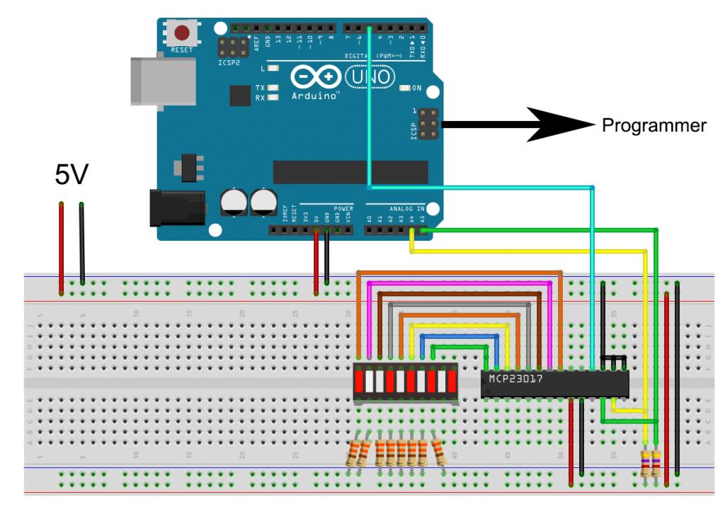 Debugging für den Arduino - Fritzing Schema der Beispielschaltung