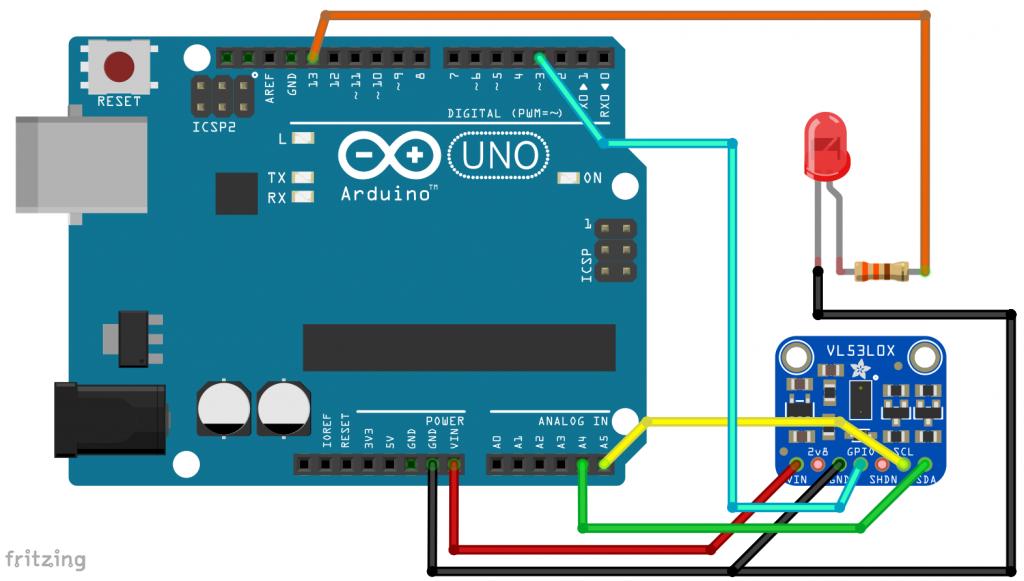 Anschluss eines VL53L0X an einen Arduino UNO