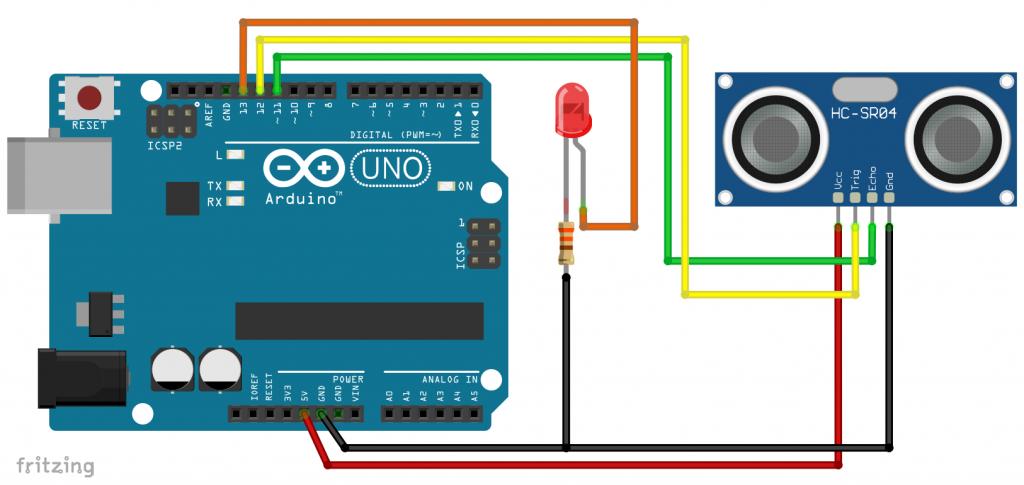 Schaltung: der HC-SR04 am Arduino