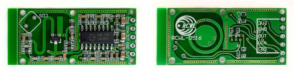 RCWL-0516 Modul, Vorder- und Rückansicht