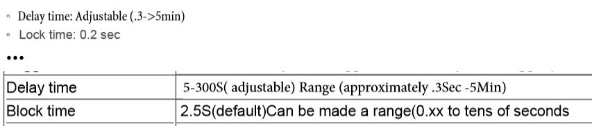 Auszug aus einem HC-SR501 Datenblatt