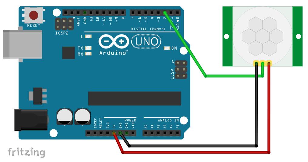 Anschluss des HC-SR501 PIR Sensors am Arduino