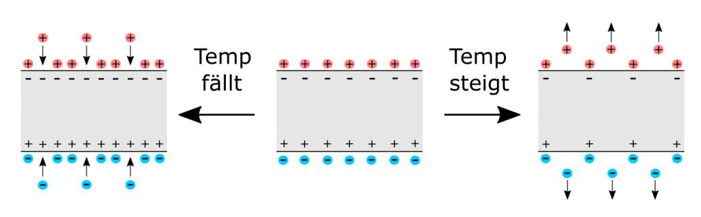 Schematische Darstellung des pyroelektrischen Effekts