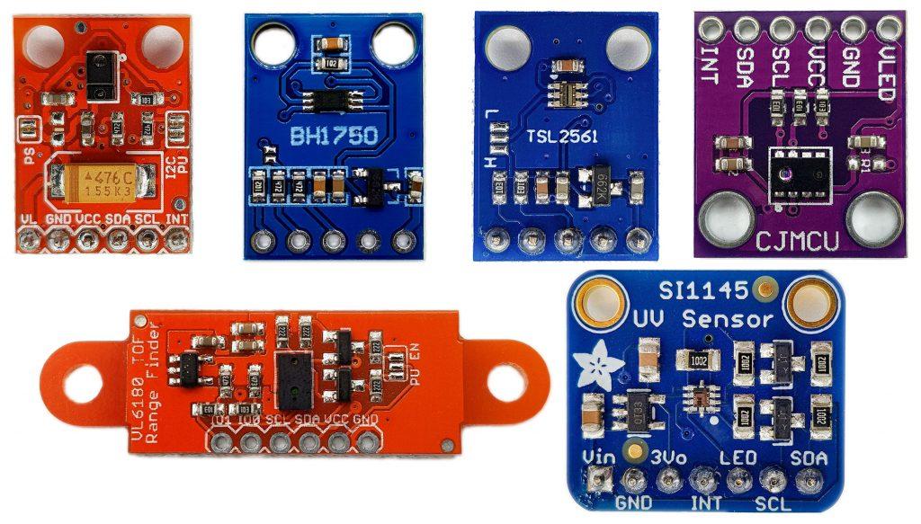 Sensorvergleich sichtbares Licht: APDS9960, BH1750, TSL2561, AP3216, VL6180X, SI1145