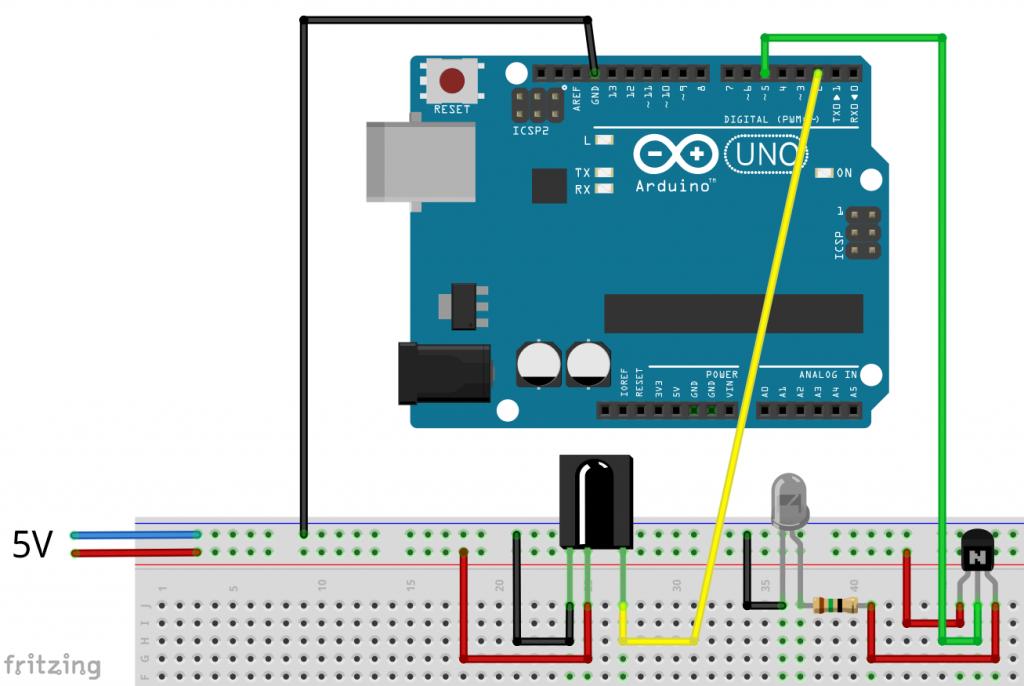 Arduino Schaltung zum Senden und Empfangen von IR Signalen