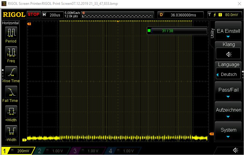 Ein höher aufgelöster Hauptpuls - ihr erkennt die 38 kHz Pulse