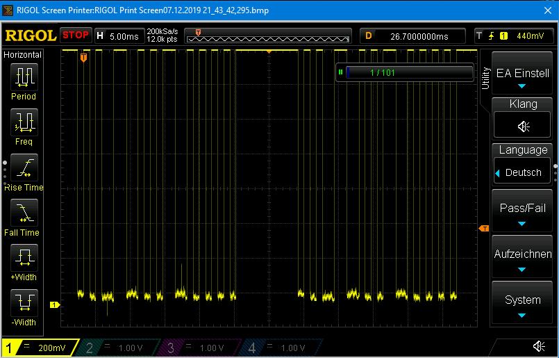 Das demodulierte Signal auf der Empfängerseite - die 38 kHz Pulse sind verschwunden
