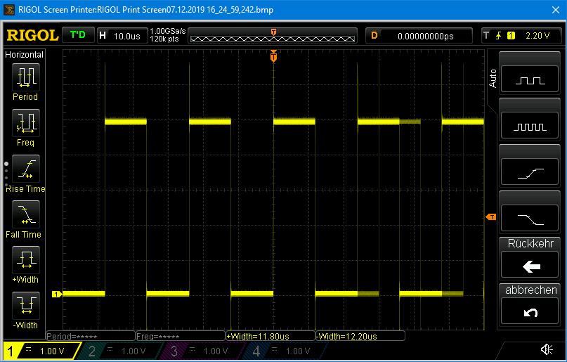 Signalerzeugung für IR Fewrnbesienungen über direkten Portzugriff und 13 µs delay - etwas zu kurz