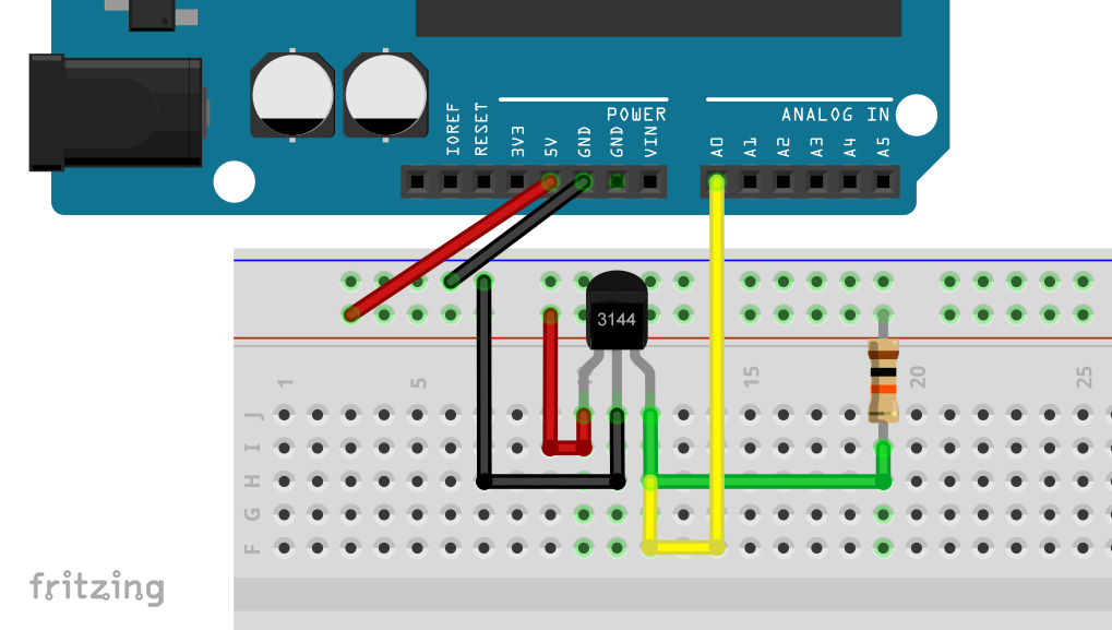 Hall-Sensor 3144 am Arduino