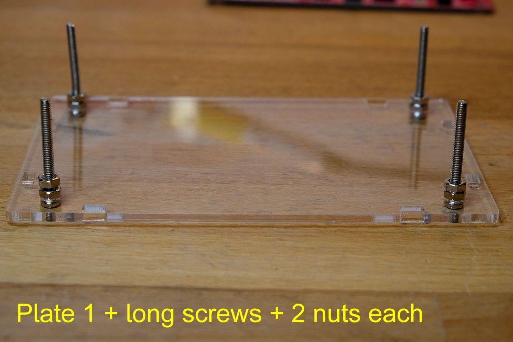 Platte 1 + lange Schrauben + je 2 Muttern