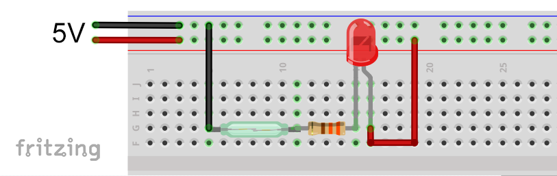 Test circuit for the reed switch