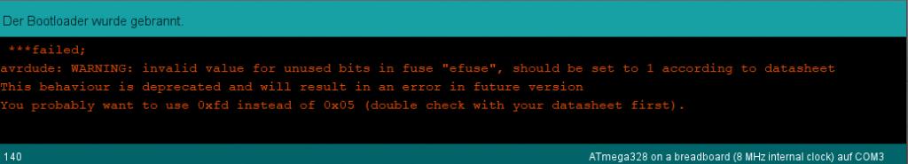 Warnmeldung in der Arduino IDE ignorieren