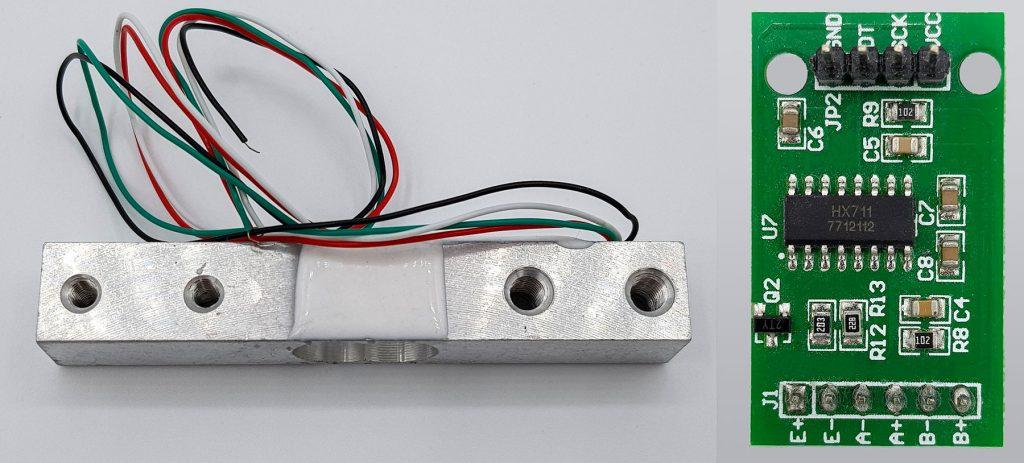 Typisches Set aus Wägezelle und HX711 Modul