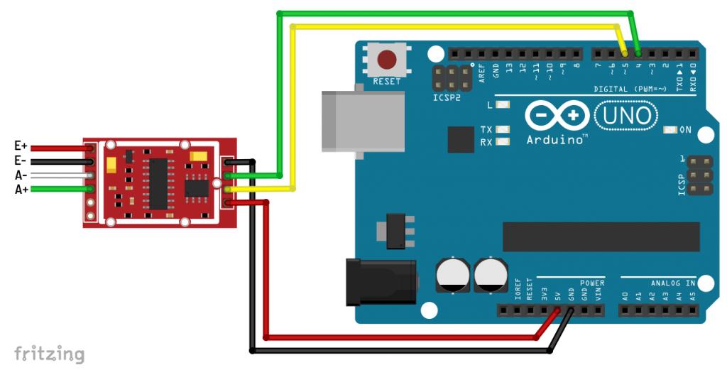 Minimumbeschaltung des HX711 am Arduino UNO
