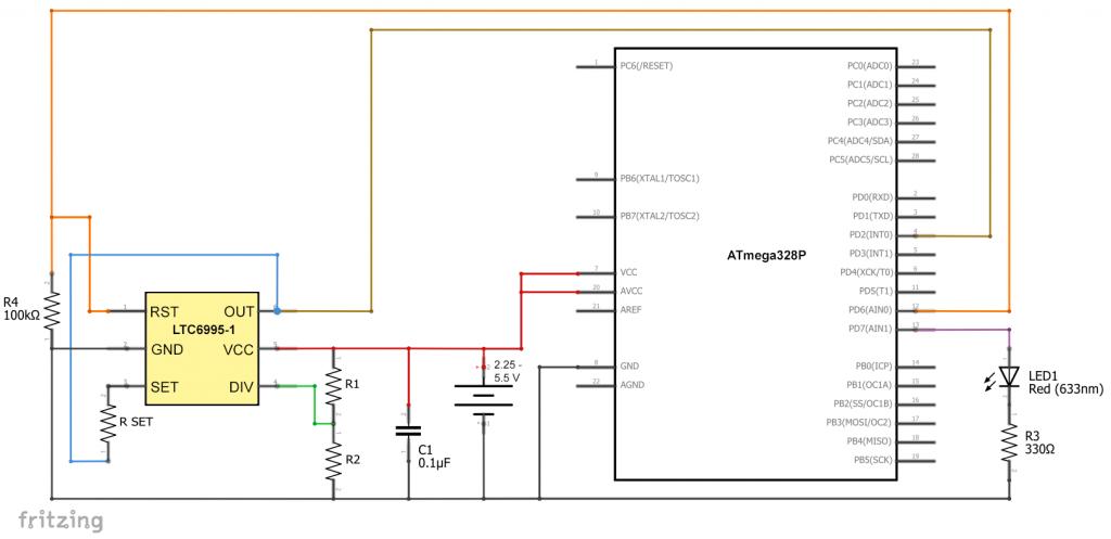 LTC6995 als Sleep Mode Wecker für den ATmega328P