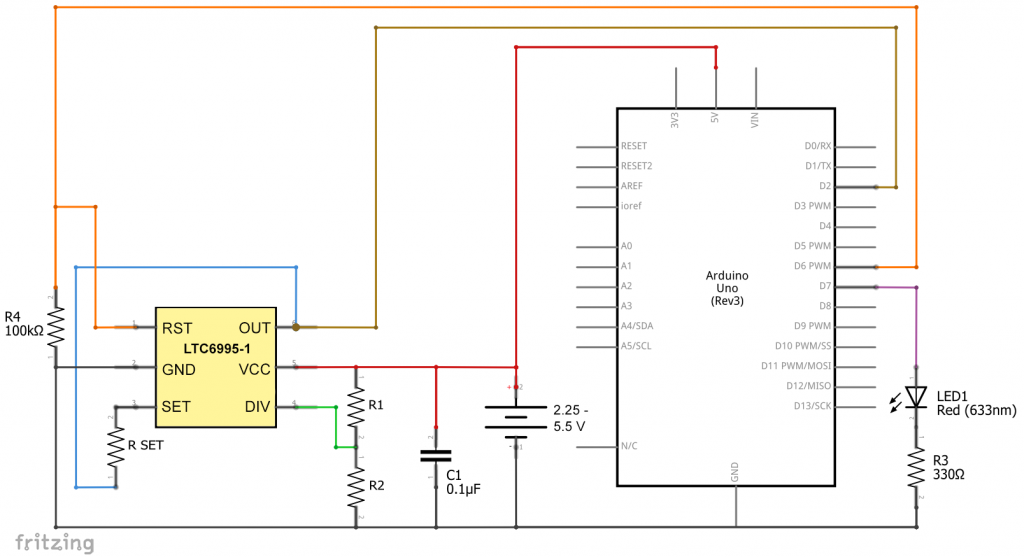 LTC6995 als Sleep Mode Wecker für den Arduino UNO
