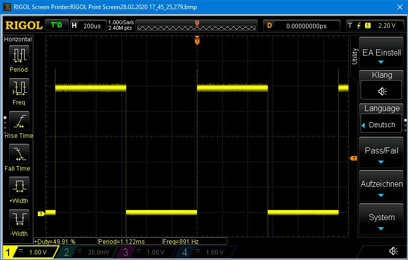 OUT-Signal des LTC6995 im Millisekundenbereich