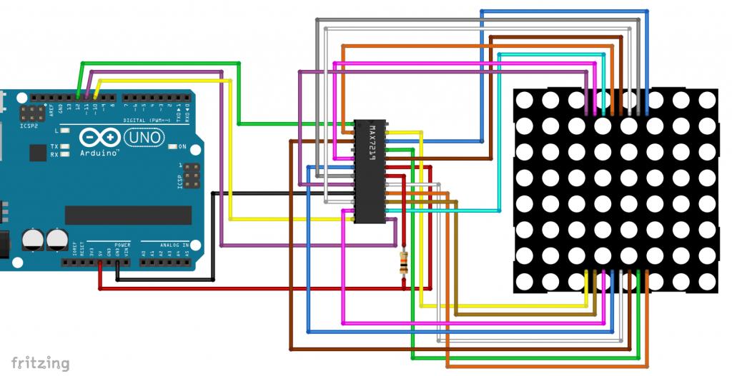 8x8 LED Matrix Display mit MAX7219 am Arduino - Fritzing Schema
