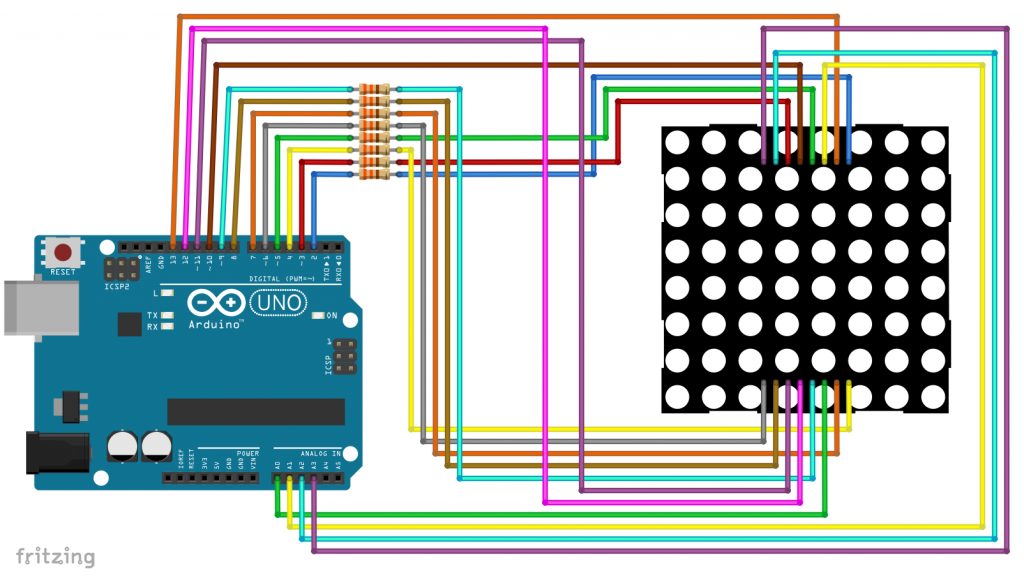 Wiring for an 8x8 LED Matrix Display